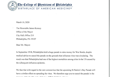 March 10 2020: The College urges the City to cancel the St. Patrick's Day parade
