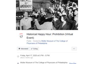 April 17 2020: Historical Happy Hour: Prohibition (Virtual Event)
