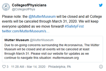 March 14 2020: The College announces its closure until at least March 31