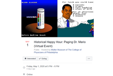 May 1 2020: Historical Happy Hour: Paging Dr. Mario (Virtual Event)