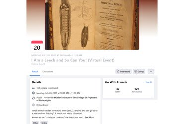 July 20 2020: I Am a Leech and So Can You! (Virtual Event)