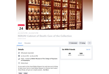 July 24 2020: RERUN! Cabinet of Death: Care of the Collection (Virtual Event)