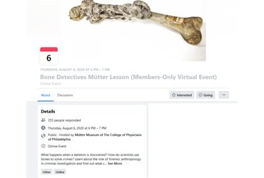 August 6 2020: Bone Detectives Mütter Lesson (Members-Only Virtual Event)