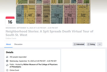 September 16 2020: Neighborhood Stories: A Spit Spreads Death Virtual Tour of South St. West