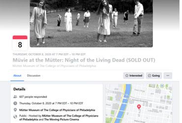 October 8 2020: Müvie at the Mütter: Night of the Living Dead