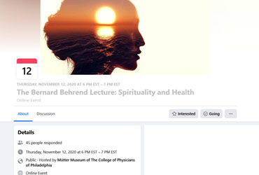 November 12 2020: The Bernard Behrend Lecture: Spirituality and Health