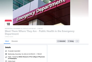 November 18 2020: Philadelphia Public Health Grand Rounds: Meet Them Where They Are – Public Health in the Emergency Department