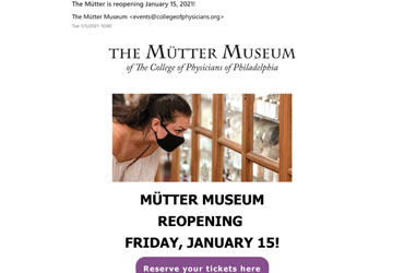 January 5 2021: The College announces The Mütter Museum will reopen on January 15
