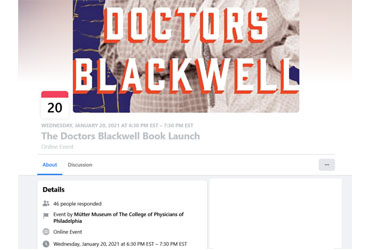 January 20 2021: The Doctors Blackwell Book Launch