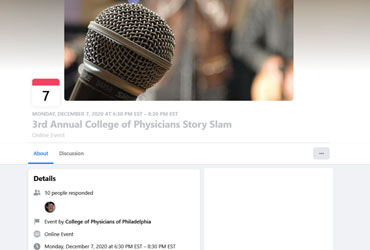 December 7 2020: 3rd Annual College of Physicians Story Slam